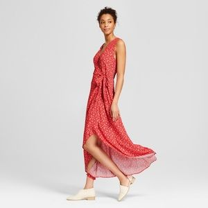 Universal Thread red floral wrap maxi dress M